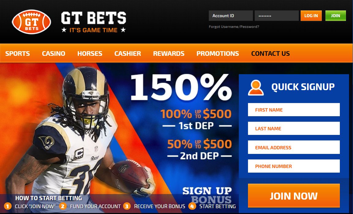 GTbets 150% Cash Sign Up Bonus this season